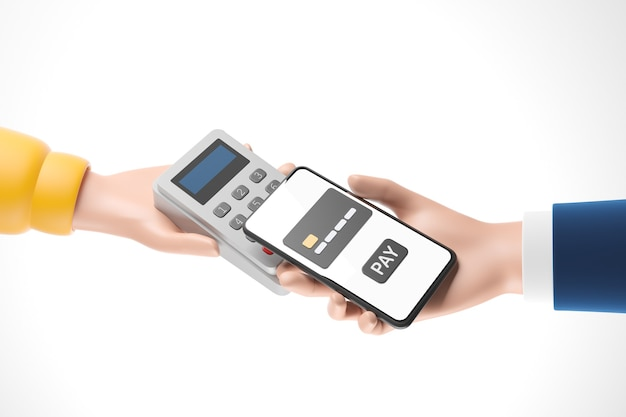Cartoon businessman hand with smartphone  paying using nfc technology and pos payment terminal isolated over white background. closeup hands of mobile payment. 3d render illustration