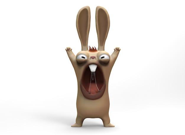 만화 캐릭터 화난 토끼와 토끼 3dillustration3drendering