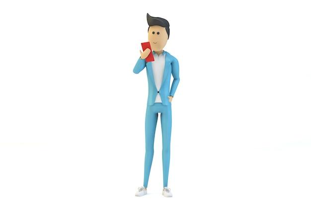 Cartoon character browsing smartphone