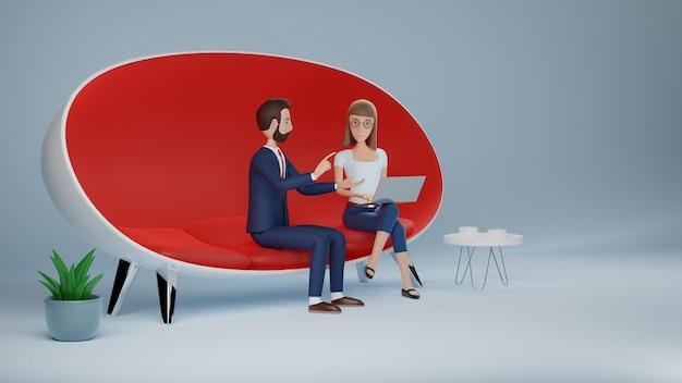 Бизнесмен и женщина персонажа из мультфильма, используя ноутбук, сидя в красном диване. концепция интервью деловой встречи. 3d рендеринг