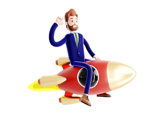 로켓을 타고 날아가는 만화 캐릭터 사업가, 사업 시작의 개념, 새로운 회사의 출범, 사업 아이디어.