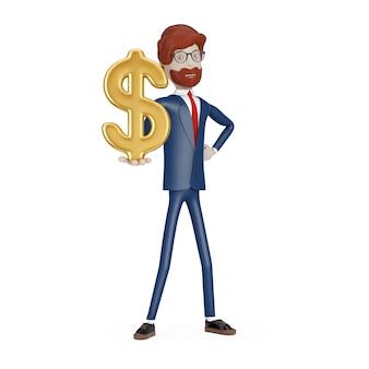 白い背景の手に黄金のドル記号記号を持つ漫画のキャラクターの実業家。 3dレンダリング