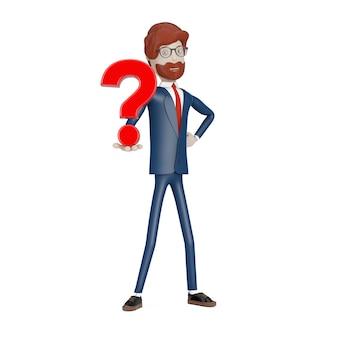 白い背景の手に赤い疑問符を持つ漫画のキャラクターの実業家。 3dレンダリング