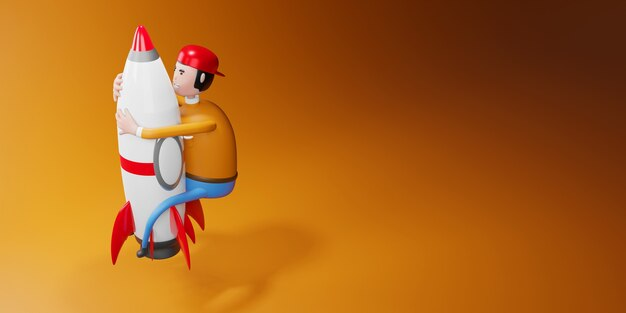 로켓 3d 그림에 비행 만화 캐릭터 남자.
