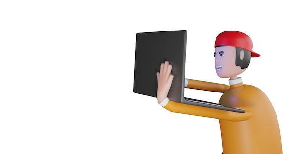 Мультипликационный персонаж, держащий ноутбук