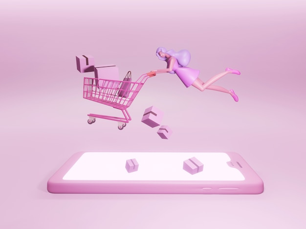 携帯電話でショッピングカートを飛んでいるきれいで幸せな女性の漫画のキャラクター。