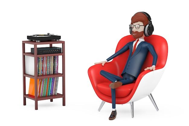 만화 캐릭터 사람은 의자에 앉아 헤드폰으로 음악을 듣습니다.