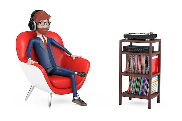 만화 캐릭터 사람은 빨간 가죽 의자에 앉아 헤드폰으로 음악을 듣습니다.