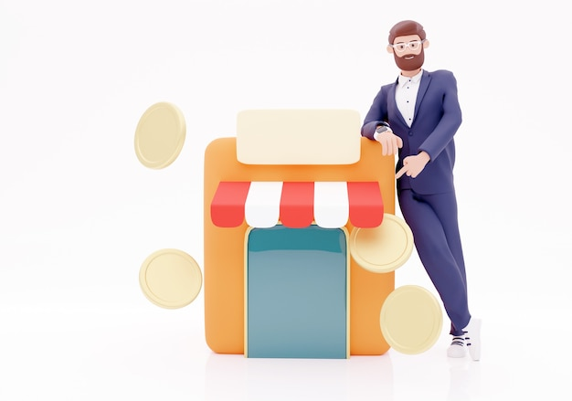 Cartoon character and shop with coin icon. concept businessman shop. 3d illustration