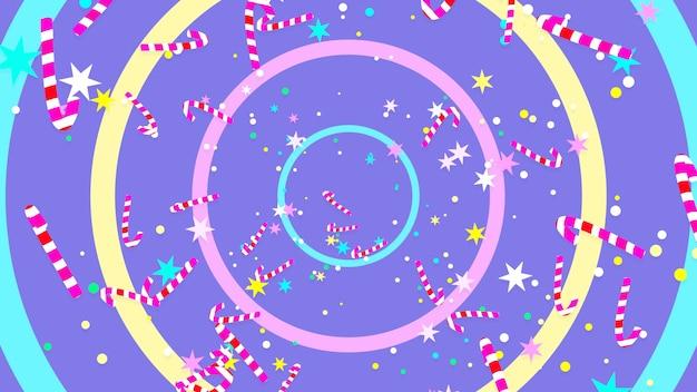 만화 크리스마스 진저 브레드 남자와 사탕 지팡이 패턴 배경 3d 렌더링 그림