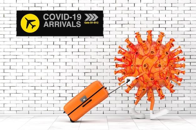 만화 코로나바이러스 covid-19 마스코트 캐릭터가 벽돌 벽을 극도로 닫고 공항에 도착합니다. 3d 렌더링
