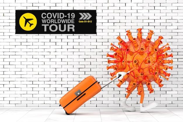 만화 코로나바이러스 covid-19 마스코트 캐릭터는 벽돌 벽이 극단적으로 닫혀 있는 공항에서 전 세계 여행으로 이동합니다. 3d 렌더링
