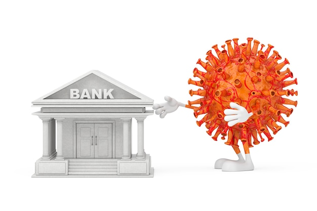 만화 코로나바이러스 covid-19 마스코트 캐릭터는 흰색 바탕에 세계 금융 시스템의 상징으로 은행 건물을 파괴하려고 합니다. 3d 렌더링