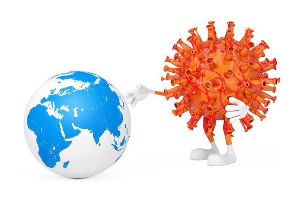 만화 코로나바이러스 covid-19 마스코트 캐릭터는 흰색 바탕에 지구 행성을 감염시키려고 합니다. 3d 렌더링