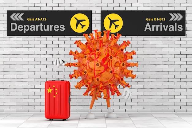도착과 출발 공항 보드 사이에 중국 여행 가방을 들고 있는 만화 코로나바이러스 covid-19 마스코트 캐릭터는 벽돌 벽에 극단적으로 닫혀 있습니다. 3d 렌더링