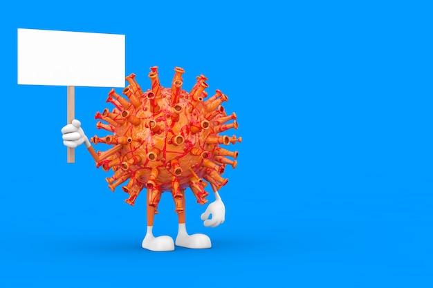 파란색 배경에 디자인을 위한 여유 공간이 있는 빈 흰색 빈 배너가 있는 만화 코로나바이러스 covid-19 마스코트 캐릭터. 3d 렌더링