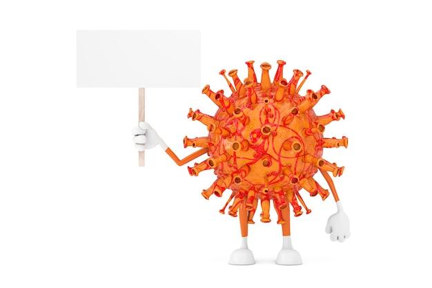 흰색 배경에 디자인을 위한 여유 공간이 있는 빈 흰색 빈 배너가 있는 만화 코로나바이러스 covid-19 마스코트 캐릭터. 3d 렌더링