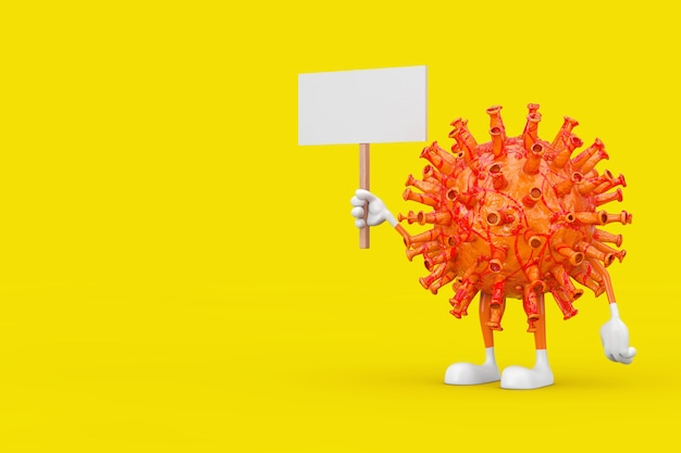 노란색 배경에 디자인을 위한 여유 공간이 있는 빈 흰색 빈 배너가 있는 만화 코로나바이러스 covid-19 마스코트 캐릭터. 3d 렌더링