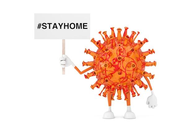 흰색 배경에 홈 사인이 있는 흰색 배너가 있는 만화 코로나바이러스 covid-19 마스코트 캐릭터. 3d 렌더링