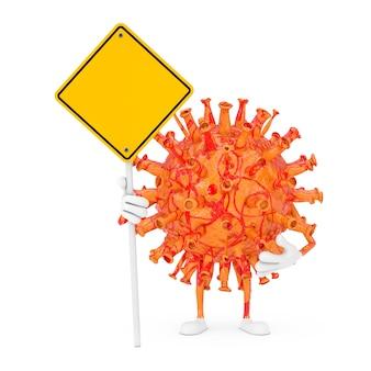 漫画コロナウイルスcovid-19ウイルスマスコットの人のキャラクターと白い背景の上のあなたのデザインのための空きスペースと黄色の道路標識。 3dレンダリング