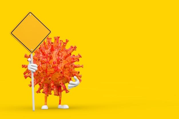 漫画コロナウイルスcovid-19ウイルスマスコットの人のキャラクターと黄色の背景にあなたのデザインのための空きスペースと黄色の道路標識。 3dレンダリング