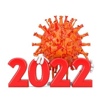 흰색 바탕에 2022년 새해 기호가 있는 만화 코로나바이러스 covid-19 바이러스 마스코트 인물. 3d 렌더링