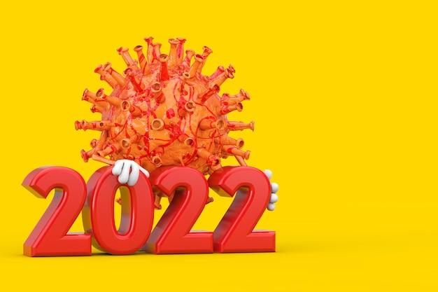 노란색 배경에 2022년 새해 기호가 있는 만화 코로나바이러스 covid-19 바이러스 마스코트 인물. 3d 렌더링