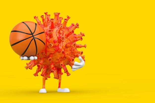 漫画コロナウイルスcovid-19ウイルスマスコットの人のキャラクター、黄色の背景にバスケットボールのボール。 3dレンダリング