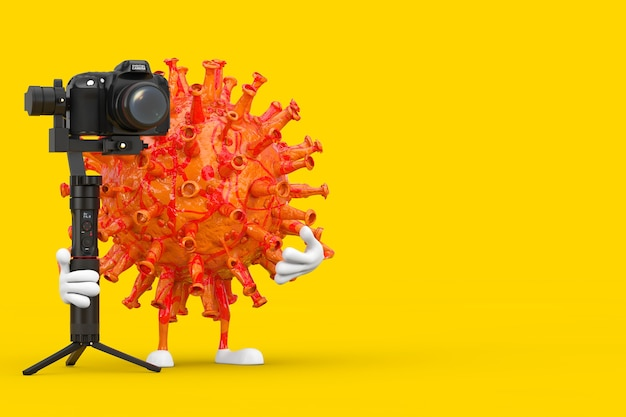 Cartoon coronavirus covid-19 virus mascot person character with dslr or video camera gimbal stabilization tripod system on a yellow background. 3d rendering