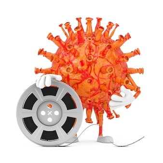 Cartoon coronavirus covid-19 virus mascot person character with film reel cinema tape on a white background. 3d rendering