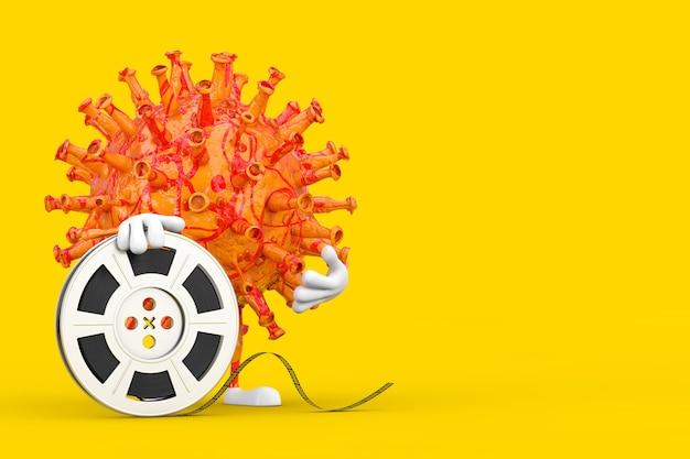 Cartoon coronavirus covid-19 virus mascot person character with film reel cinema tape on a yellow background. 3d rendering
