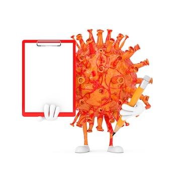 Мультяшный персонаж-талисман вируса covid-19 с красным пластиковым буфером обмена, бумагой и карандашом на белом фоне. 3d рендеринг