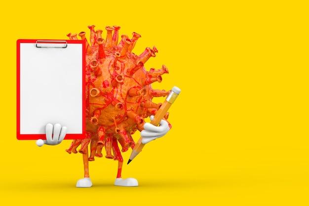 Мультяшный персонаж-талисман вируса covid-19 с красным пластиковым буфером обмена, бумагой и карандашом на желтом фоне. 3d рендеринг