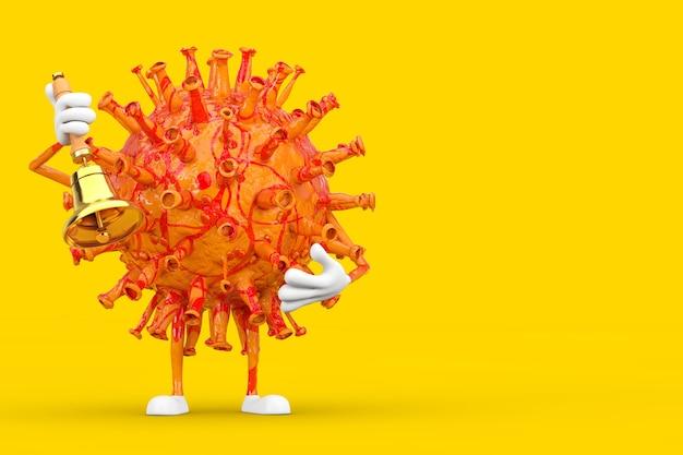 Мультяшный персонаж-талисман вируса covid-19 с винтажным золотым школьным колоколом на желтом фоне. 3d рендеринг