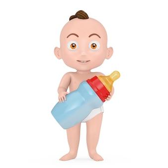 白い背景の上の赤ちゃんのミルクボトルと漫画かわいい男の子。 3dレンダリング