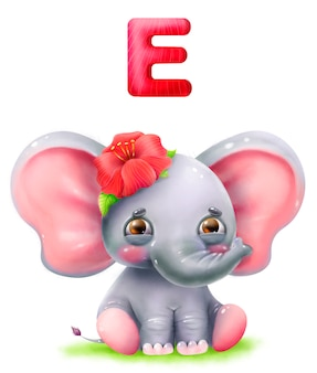 Cartoon cute elephant with flower and letter of the alphabet