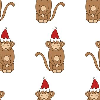 漫画かわいい面白い落書き猿シームレスパターン