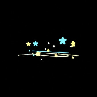 Cartoon dizzy stars effect on black background 3d rendered picture