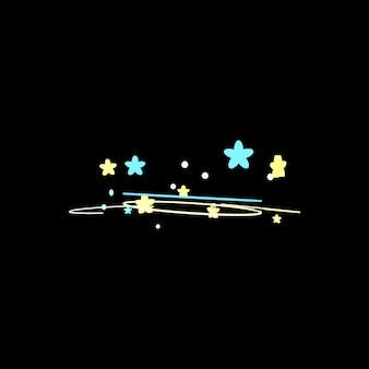 검은 배경에 만화 현기증 별 효과 3d 렌더링 된 그림