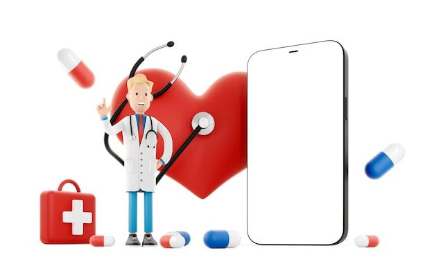 큰 붉은 마음과 휴대 전화 근처 만화 의사