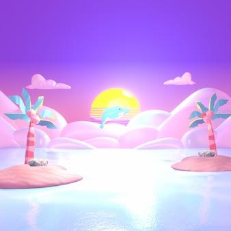 Мультяшный дельфин, выпрыгивающий из воды в море, розовый тропический остров, рай, 3d визуализация