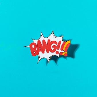 Cartoon exclusive font label tag expression with word bang on blue background