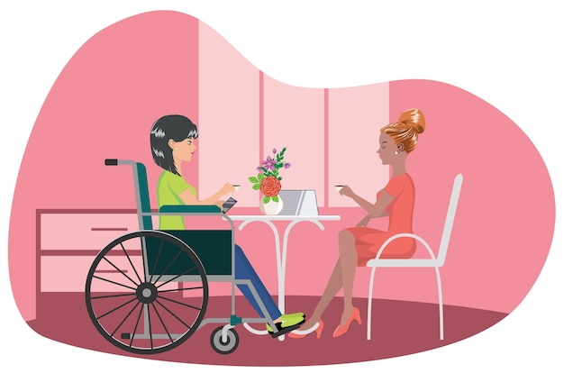 Cartoon girl in wheelchair drink coffee with her friend illustration.