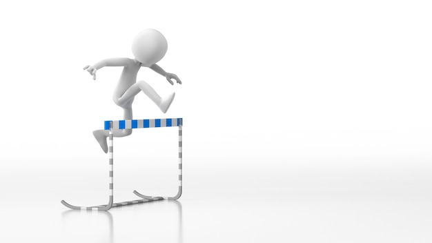 Cartoon guy jumping over a hurdle obstacle. isolated white background. 3d rendering
