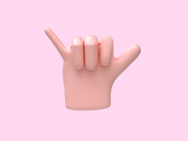 Cartoon hand abstract sing/symbol pink background 3d rendering