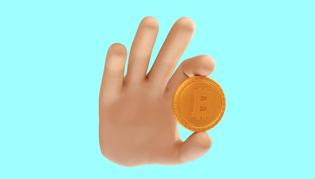 Мультфильм рука 3d биткойн на изолированном фоне. 3d иллюстрации. биткойн торговля