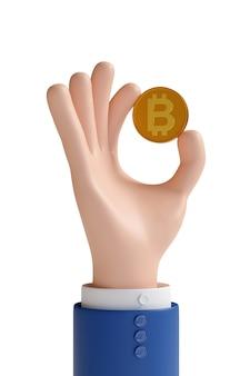 分離されたビットコインを持っている漫画の手