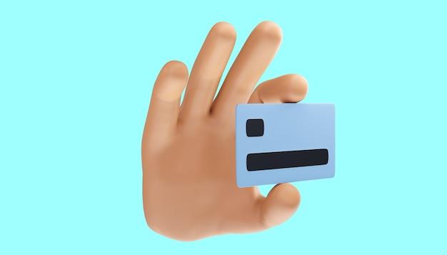 孤立した背景にクレジットカードを持っている漫画の手。 3dイラスト。