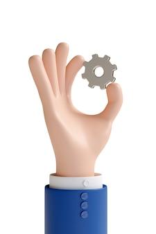 Мультяшная рука, держащая шестерню изолирована