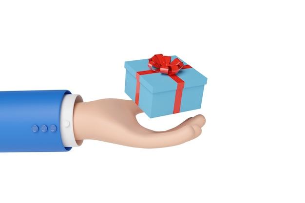 흰색 배경에 고립 된 선물 상자를 들고 만화 손.